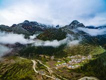 Aerial view Scenery of Zhagana in Gannan, Chinese Gansu stock photography
