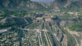 Aerial view of scenic agricultural area in Murcia region of Spain stock video footage