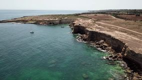 Aerial view of scenic coastline of Plemmirio in Sicily stock video footage