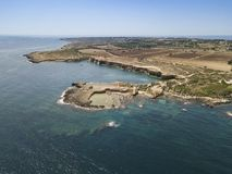 Aerial view of scenic coastline of Plemmirio in Sicily stock photo
