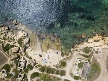 Aerial view of scenic coastline of Plemmirio in Sicily stock images