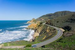 Aerial view of scenic highway on the Pacific Ocean coast, Devil`s Slide, California stock image