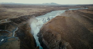 Aerial view of the scenic landscape in Iceland. Waterfall Gullfoss in the crevice, clear mountain river. Famous place. stock video footage
