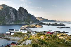 Aerial view of scenic Reine town on Lofoten islands Stock Images