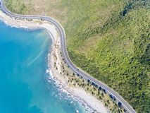 Aerial view of scenic road along coast royalty free stock photo