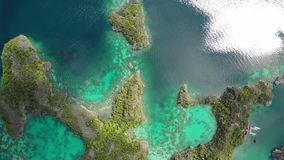 Aerial view of tropical limestone islands in Raja Ampat stock video footage