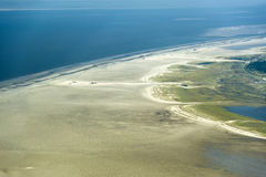 Aerial view from the Schleswig-Holstein Wadden Sea National Park Royalty Free Stock Images