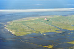 Aerial view from the Schleswig-Holstein Wadden Sea National Park Royalty Free Stock Photography
