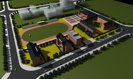 Aerial view of a school. 3d illustrated aerial view of a modern school and grounds Stock Photo
