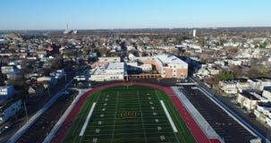 Aerial View School Football Field stock footage
