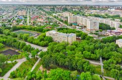 Aerial view on school No. 30. Tyumen. Russia Royalty Free Stock Photos