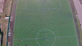 Aerial View of School Team Playing Football stock video footage