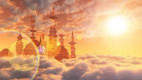 Aerial view of Sci Fi City with clouds. And sun Royalty Free Stock Image
