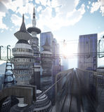 Aerial view of Sci Fi City with clouds and sun. Background Royalty Free Stock Image