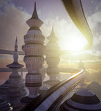 Aerial view of Science Fiction City with clouds and sun. Concept Royalty Free Stock Image