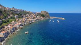 Aerial view of Scilla with Chianalea homes.  royalty free stock image