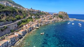 Aerial view of Scilla with Chianalea homes.  stock images
