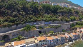 Aerial view of Scilla with Chianalea homes.  stock photos