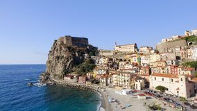 Aerial view of Scilla coastline in Calabria, Italy royalty free stock image