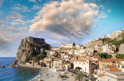 Aerial view of Scilla coastline in Calabria, Italy stock photography