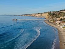 Aerial view of the scripps pier institute of oceanography, La Jolla, San Diego, California, USA. stock photo