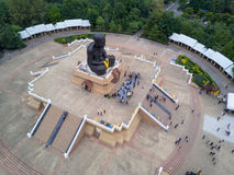 Aerial view of sculpture of revered Buddhist monk Luang Pu Thuat. At Wat Huay Mongkol in Hua Hin Thailand Royalty Free Stock Photos