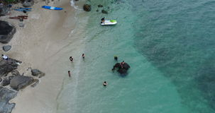 Aerial view of the sea and coastline of the beach with elephant in Phuket stock footage