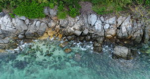 Aerial view of the sea and coastline of the beach in Phuket stock footage