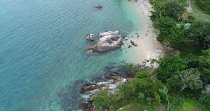 Aerial view of the sea and coastline of the beach in Phuket stock video footage