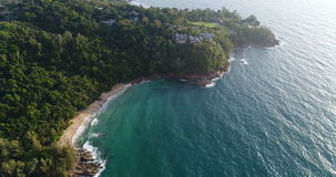 Aerial view of the sea and coastline of the beach in Phuket stock video