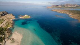Aerial view of the sea, Sardinia, Italy. Aerial view of the sea, La Pelosa, Sardinia, Italy Stock Photos
