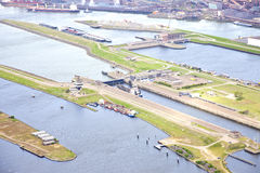 Aerial view at sea lock IJmuiden Royalty Free Stock Image