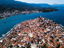 Aerial view of the sea Marina in Poros island, Aegean sea stock images