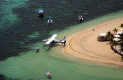 Aerial view of a sea plane at a tropical resort Royalty Free Stock Photo