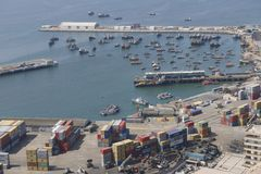Aerial view of the sea port of the Arica city, Chile. Royalty Free Stock Photo