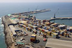 Aerial view of the sea port of the Arica city, Chile. Royalty Free Stock Images