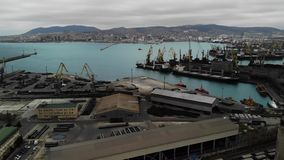 Aerial view. Sea port of export and import. Business in the sea. Logistics and transportation. Aerial view. Sea port of export and import. Business in the sea stock footage