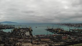 Aerial view. sea port of export and import. business in the sea. Logistics and transportation.  stock footage