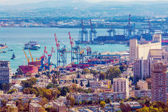 Aerial View of sea Port, Haifa Royalty Free Stock Photo