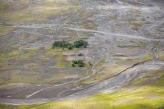 Aerial view of sea of sand inside Bromo Tengger Caldera Stock Images