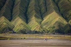 Aerial view of sea of sand inside Bromo Tengger Caldera Royalty Free Stock Images