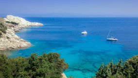 Aerial view of Sea of Sardinia. Italy, boat, crystal clear sea, transparent water Royalty Free Stock Image