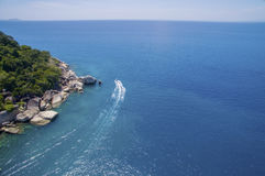 Aerial view sea and speed boat Royalty Free Stock Photo