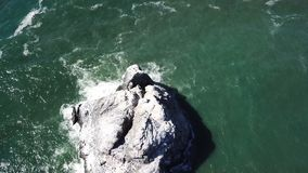 Aerial View of Sea Stack Off Northern California Coast stock footage