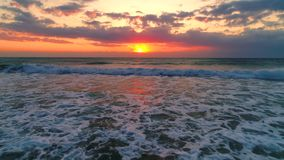 Aerial view of sea sunrise and beautiful cloudscape stock video footage