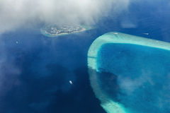 Aerial View from seaplane over Atolls Stock Image