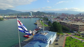 Aerial view of seaport of Batumi stock video