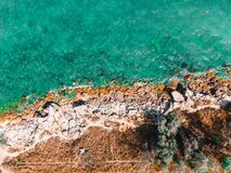 Free Aerial View Seascape, Ocean Waves Crashing Rocks, Drone Photography Royalty Free Stock Images - 196000639