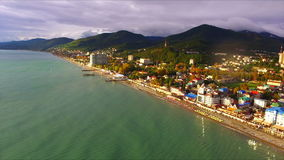 Aerial view on seashore resort area stock video footage