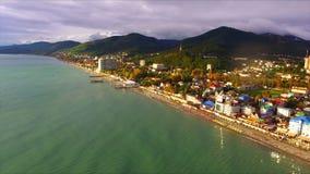 Aerial view on seashore resort area. Black Sea, Russia stock video footage